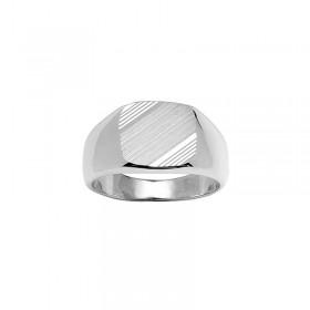Chevalière en argent plateau carré & diamantage strié