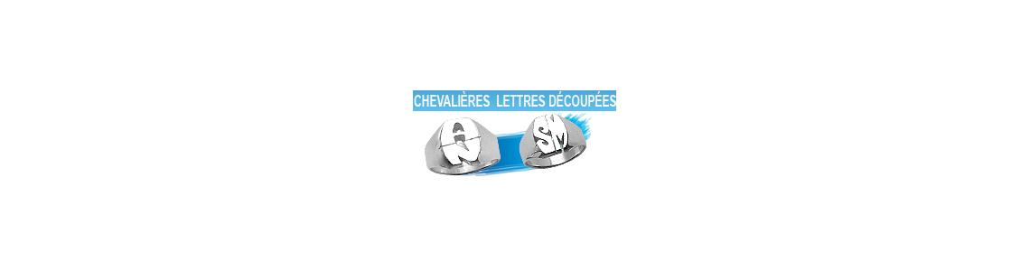 Chevalière en argent lettres découpées pour homme